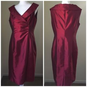 Jones Wear Dresses - Ruby Red Surplice Neck sleeveless Sheath Dress 10